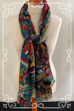 Vrolijk gekleurde sjaal met bloemen - volwassenen