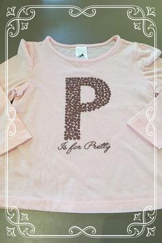 leuk roze shirt met een bolletjes P erop van Palomino - maatje 98
