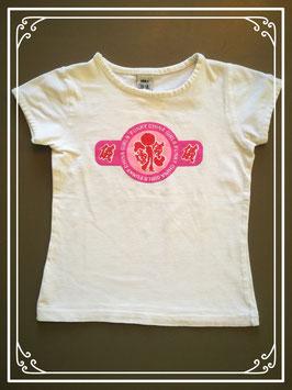 Wit T-shirtje met opdruk - maat 110-116