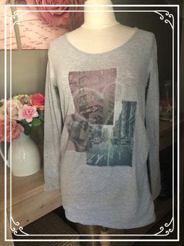 Grijs lange mouwen shirt met print van Mama Licious - Maat L