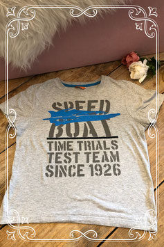 Grijs shirt met print van HEMA - Maat 134-140