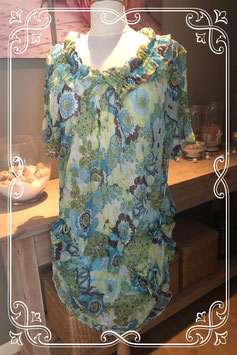 Groen/blauwe jurk met bloemenprint van Bel&Bo - Maat XL