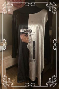 Zwart/zilver shirt met print van Ulla Popken - Maat xxl
