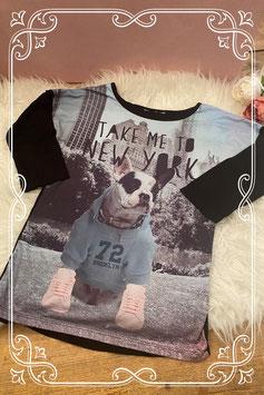 Zwart met lichtblauw shirt met opdruk van een hond - maat 140