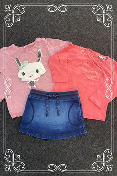 3-delige set: spijkerrokje van Hema met longsleeve van Prenatal en trui maat 86/92