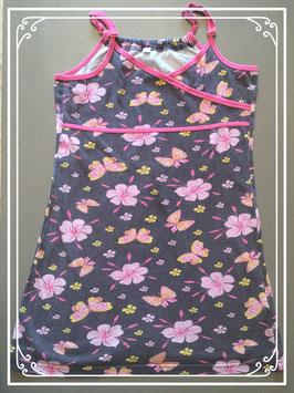 Bruine jurk met bloemen en vlinders - maat 146-152