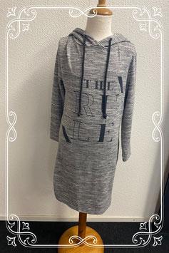 Leuke grijze jurk met capuchon van FB Sister maat 146/152