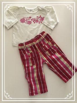Gekleurde broek met wit shirt - Maat 68