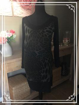 Zwart/grijs jurkje met panterprint met lange mouw - Maat M
