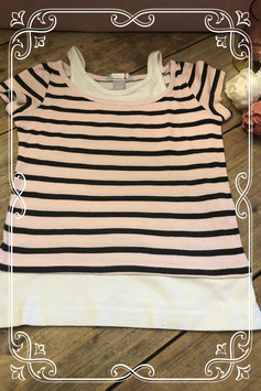 Zwarte/roze T-shirt met wit hemd van H&M - Maat 134