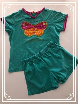 Korte groene pyjama met vlinder van de HEMA - Maat 122-128