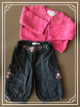 Roze gebreid vestje met spijkerbroek van NAME IT en BONPOINT - Maat 68