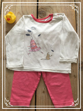 Wit t-shirtje met roze legging van HEMA - Maat 80