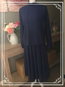 Donkerblauwe blouse met rok van Hardob - Maat 40