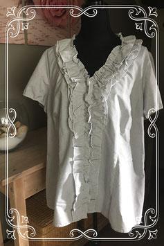 Zwart/wit gestreepte korte mouwen blouse van MS Mode - Maat 50
