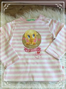 Wit met roze gestreepte longsleeve van Looney Tunes (warner bros) - maat 86