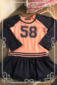 Blauw-roze jurkje van het merk Bakkaboe - maat 86