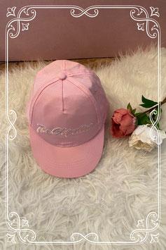 Roze pet met opdruk - 54 cm.