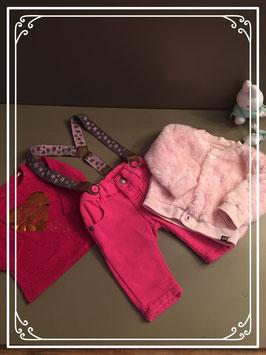 Roze broek shirt en jasje - Maat 50-56