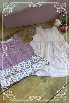 Set van 2 paarse jurkjes - maat 86