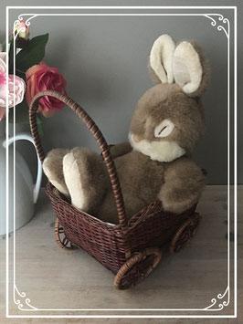 slapend konijn in rieten wagen.
