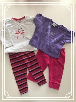 2 shirts met bijpassende broekjes - Maat 68