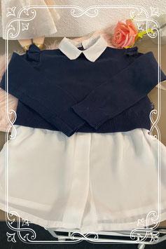 Chique blauwe sweater met witte blouse van Europe kids Maat 98/104