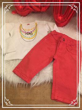 Roze broek met wit shirt (merkloos) - Maat 98