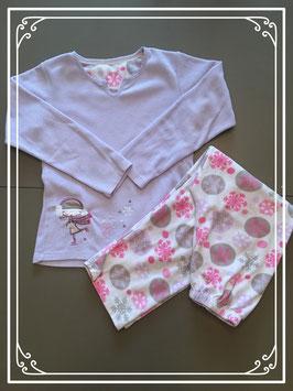 Fleece pyjama paars-roze-maat 122-128
