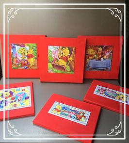 Zes canvas schilderijtjes met puzels van Winnie the Pooh