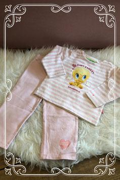 Lichtroze en witte tweedelig setje Tweety van baby Looney Tunes - Maat 86