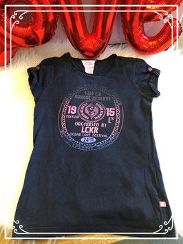 Zwart T_shirt met roze print in maat 122.