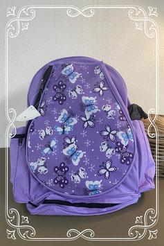 Grote paarse rugtas met vlinders