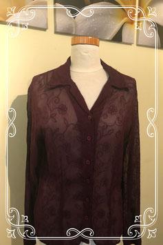 Donkerpaarse doorzichtige blouse maat M