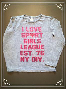 Grijs shirtje met roze tekst - maat 110