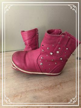 Roze laarzen met zilveren steentjes - Maat 22