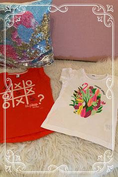 Oranje hemd van Jill en wit shirt van Zeeman maat 98/104
