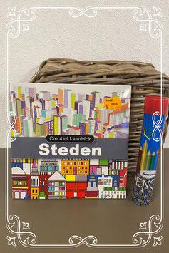 Tekenboek Steden met kleurpotloden!