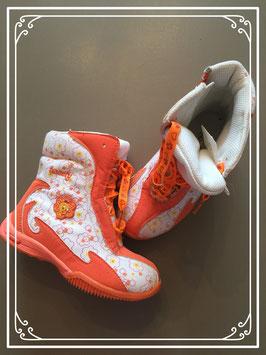 Oranje laarsjes met bloemmotief - maat 27