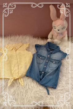 Set van 2 blousejes van Baby Girl en Primark - maat 80