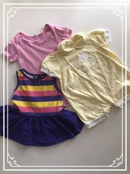 Geel broekpak met paarse jurk - Maat 62