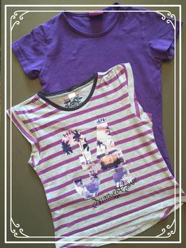 Paars setje van T-shirts - maat 134-140