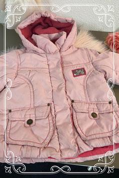 Roze warm gevoerde winterjas van Baby Blue Maat 62