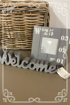Nieuw! Grijze woondecoratie Welcome en Fotolijstje