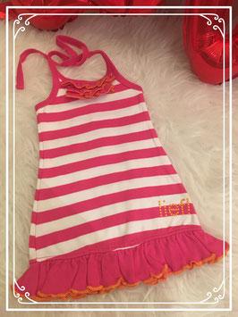 Roze/wit gestreepte jurk met spaghettibandjes van lief! - Maat 74