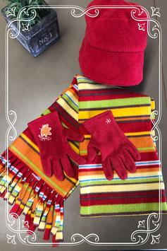 Rode muts en handschoenen met gestreepte sjaal - voor 4-6 jaar