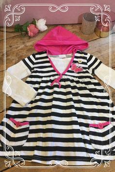 Zwart-wit gestreept jurkje van KDS - maat 98