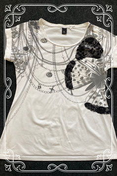 Wit versierd shirt van B.C. maat 42