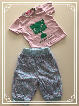 Blauwe bloemen broek met roze T-shirt - Maat 62