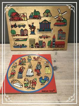 Twee leerzame houten puzzels